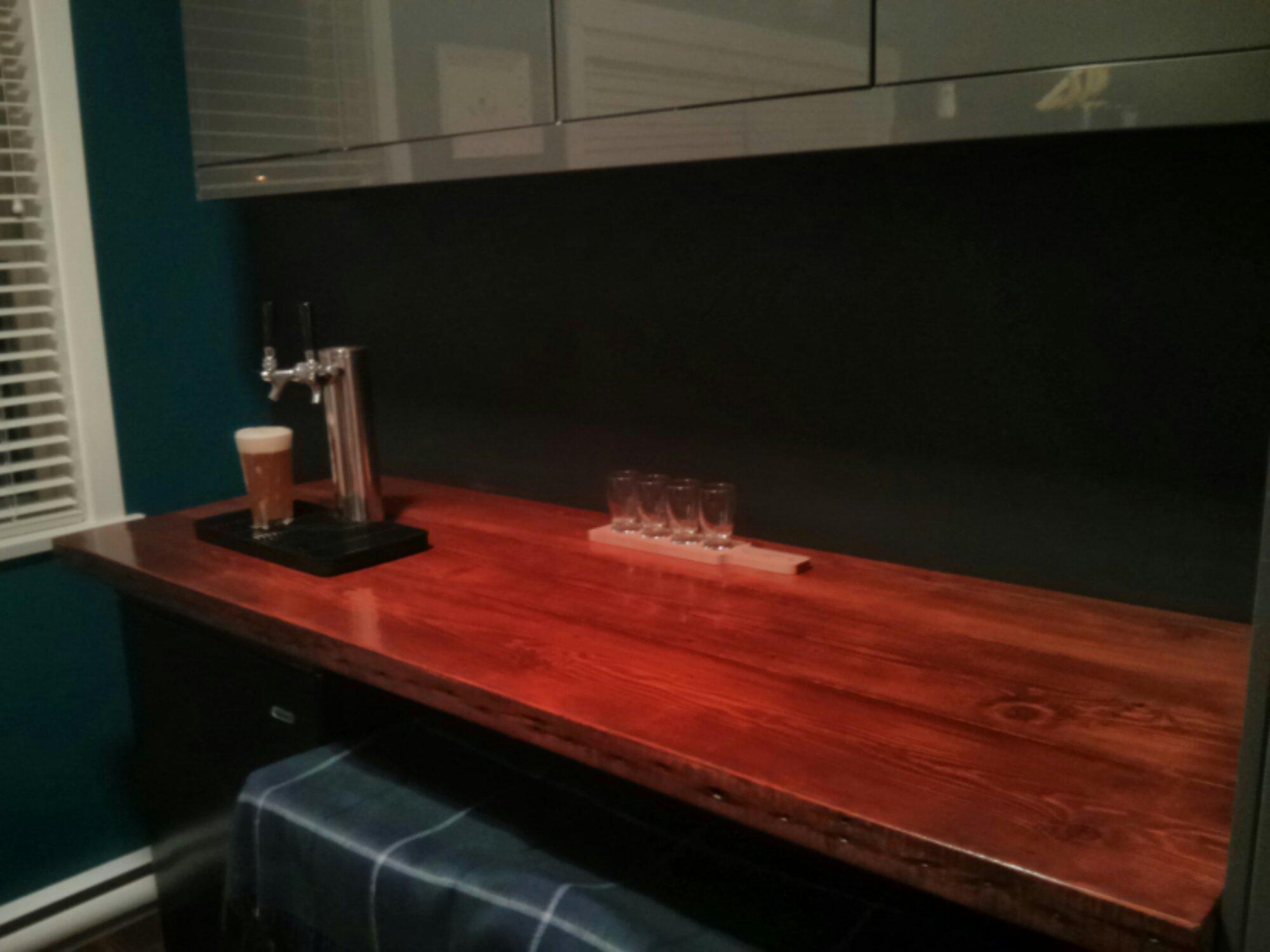 Bar counter built from reclaimed materials haggis bigos for Built in bar counter